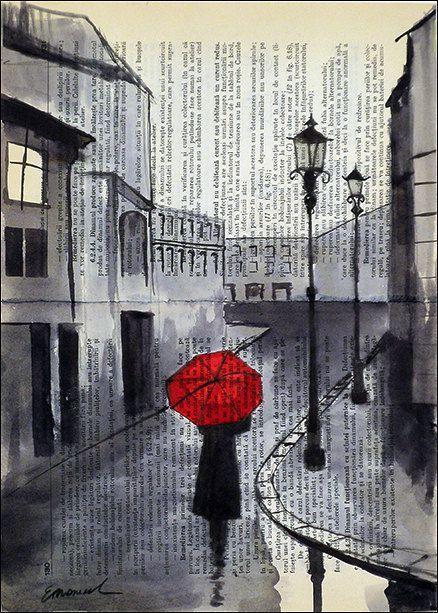 Druck Kunst Leinwand Tinte Zeichnung Plakat am besten Geschenk Zeichnung Dketch Stadt Malerei Illustration Mädchen Regenschirm Stadtbild signiert Emanuel Ologeanu