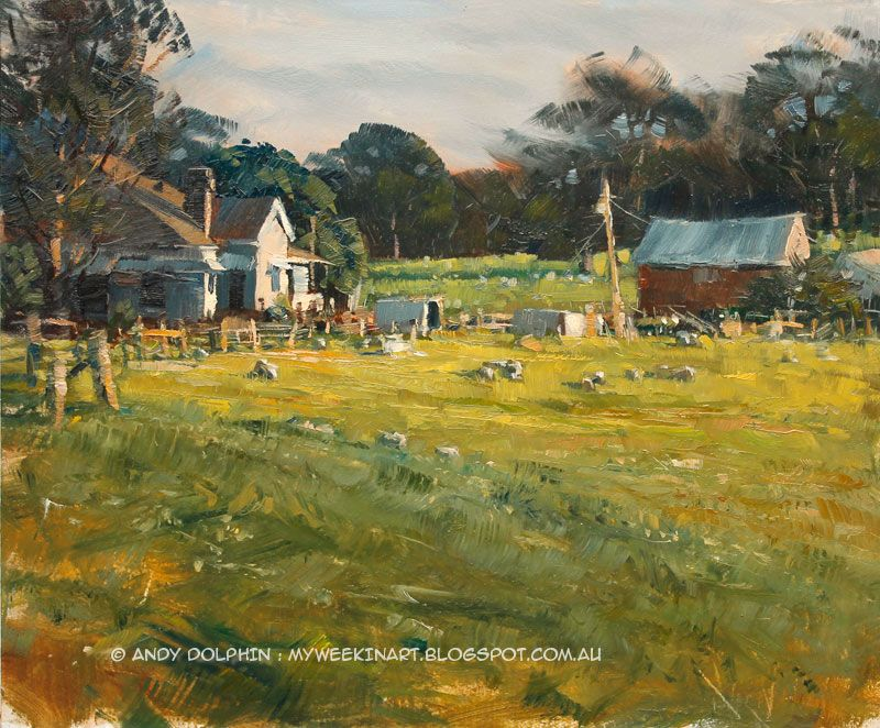 8c535936f9940 Australian rural landscape. Plein air oil painting sketch by Andy ...