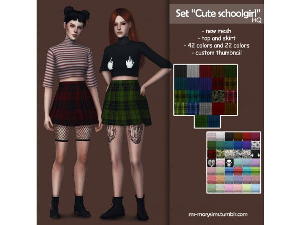 """3859c95dbd7 Set """"Cute schoolgirl"""" by ms-marysims - The Sims 4 Download - SimsDomination"""