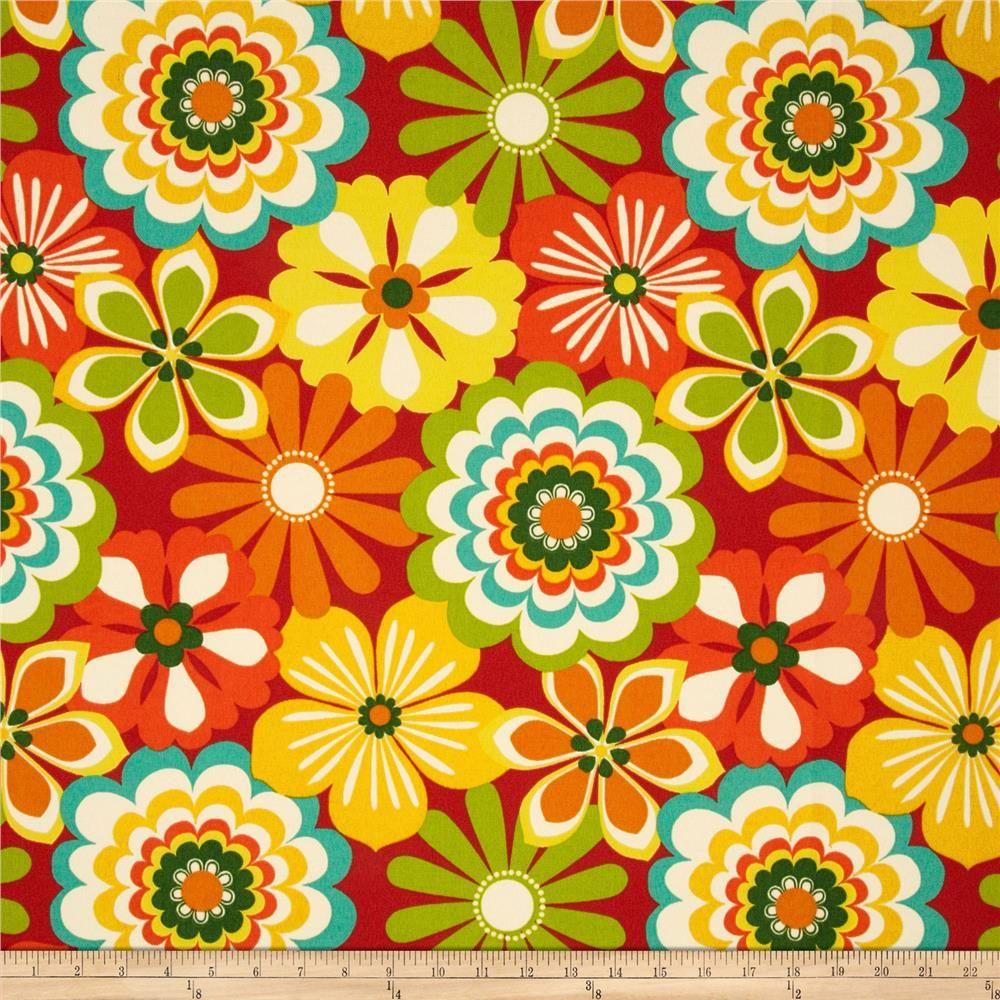 Swavellemill creek indooroutdoor esbo poppy fabric green