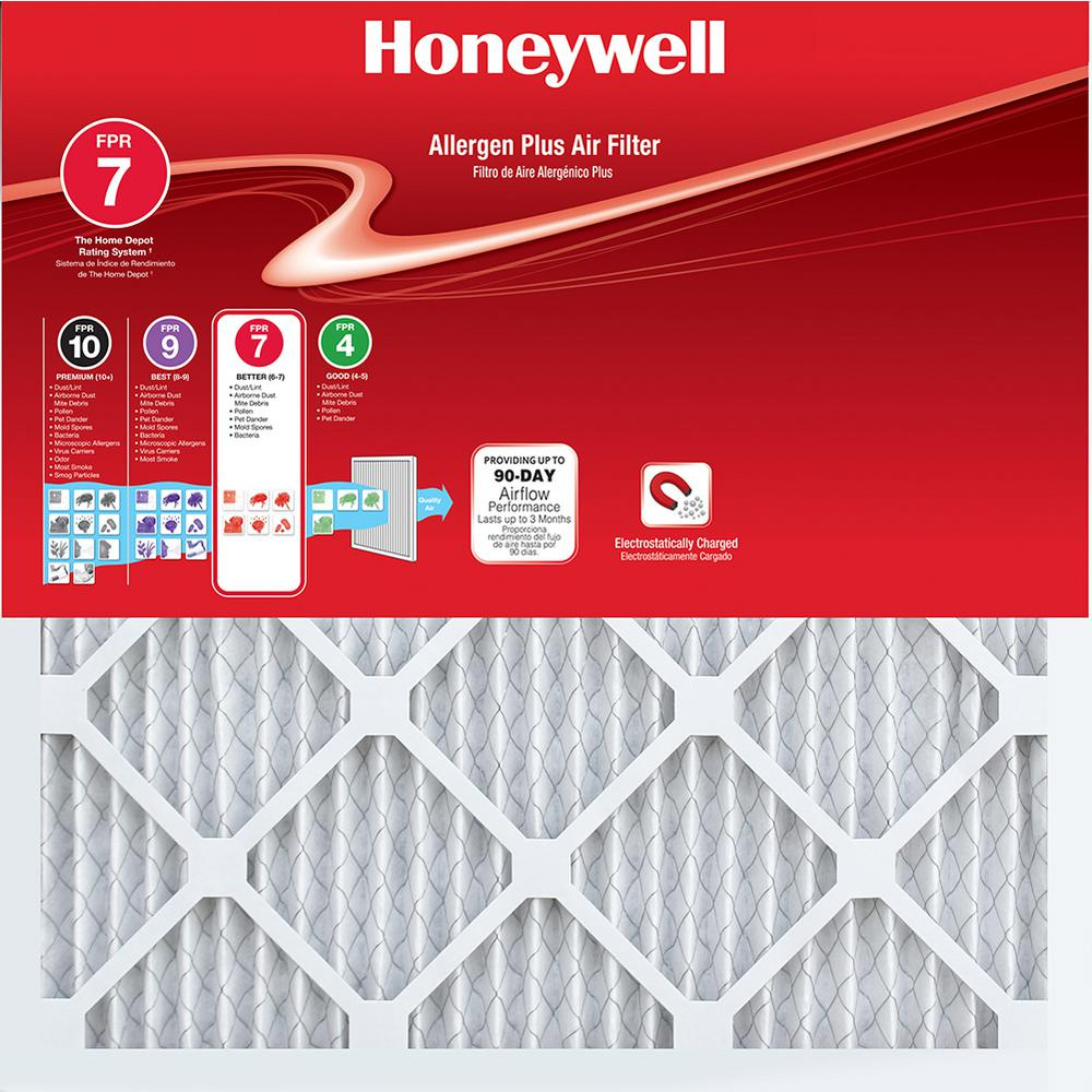 Honeywell 21 1 4 In X 37 1 4 In X 1 In Allergen Plus Pleated Fpr 7 Air Filter 2 Pack Honeywell Filters