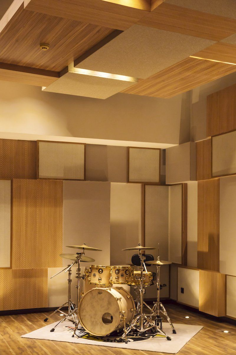 Band Room Design: A Drum Kit In The Live A Recording Room. The Wall And
