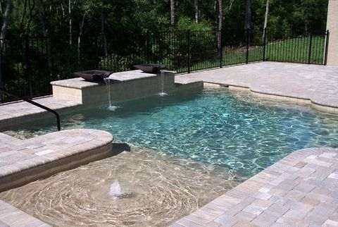 Small Beach Entry Plunge Pool Backyard Pool Landscaping Geometric Pool Small Backyard Landscaping