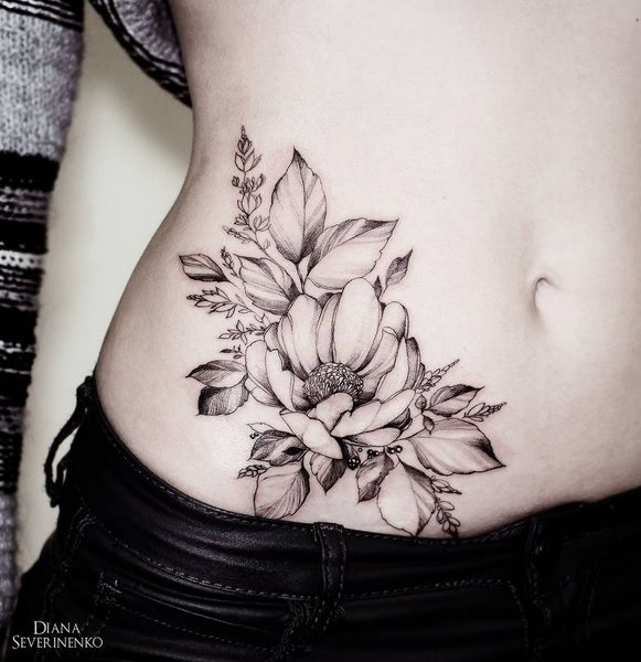 Hip And Belly Tattoo