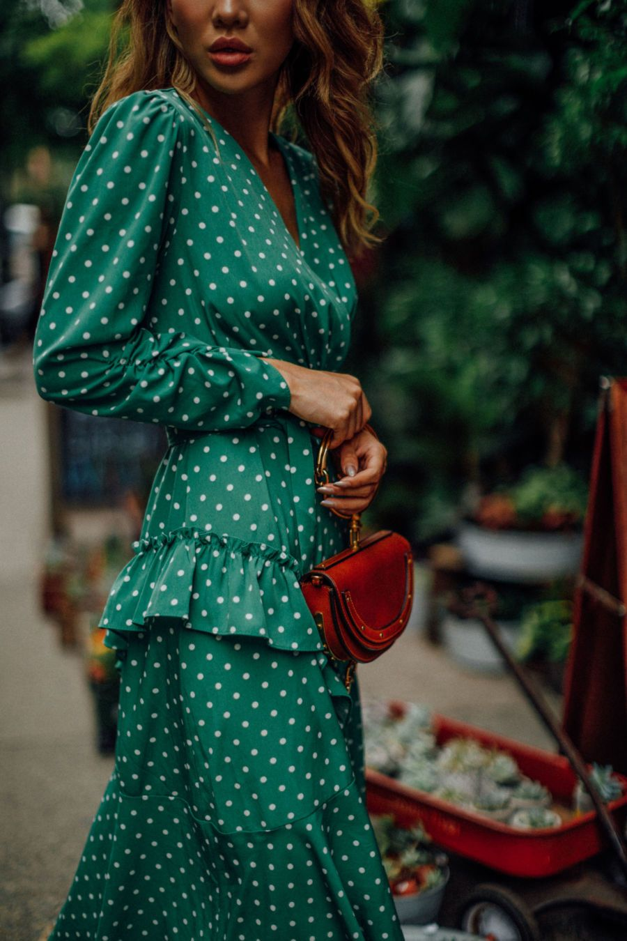 7ec2d97c0b2 The Only 3  Wedding Guest  Outfits You Need This  Summer Green Polka Dot   Dress