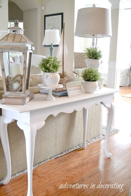 Decorating A Sofa Console Table Easy Fit Cover Solutions I Love The Lantern And Varying Heights Of Potted Plants Decor Adventures In Tables Couch White