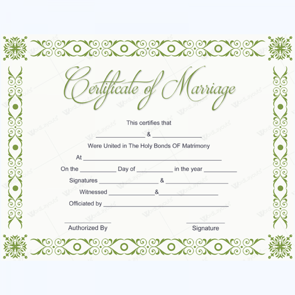 Marriage Certificate   Certificate And Template