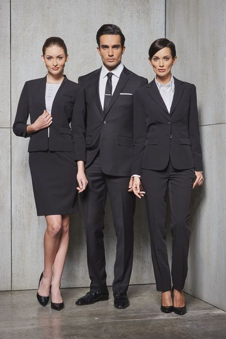 Businessmen and women wearing dress shoes ladies wear for Hotel design jersey