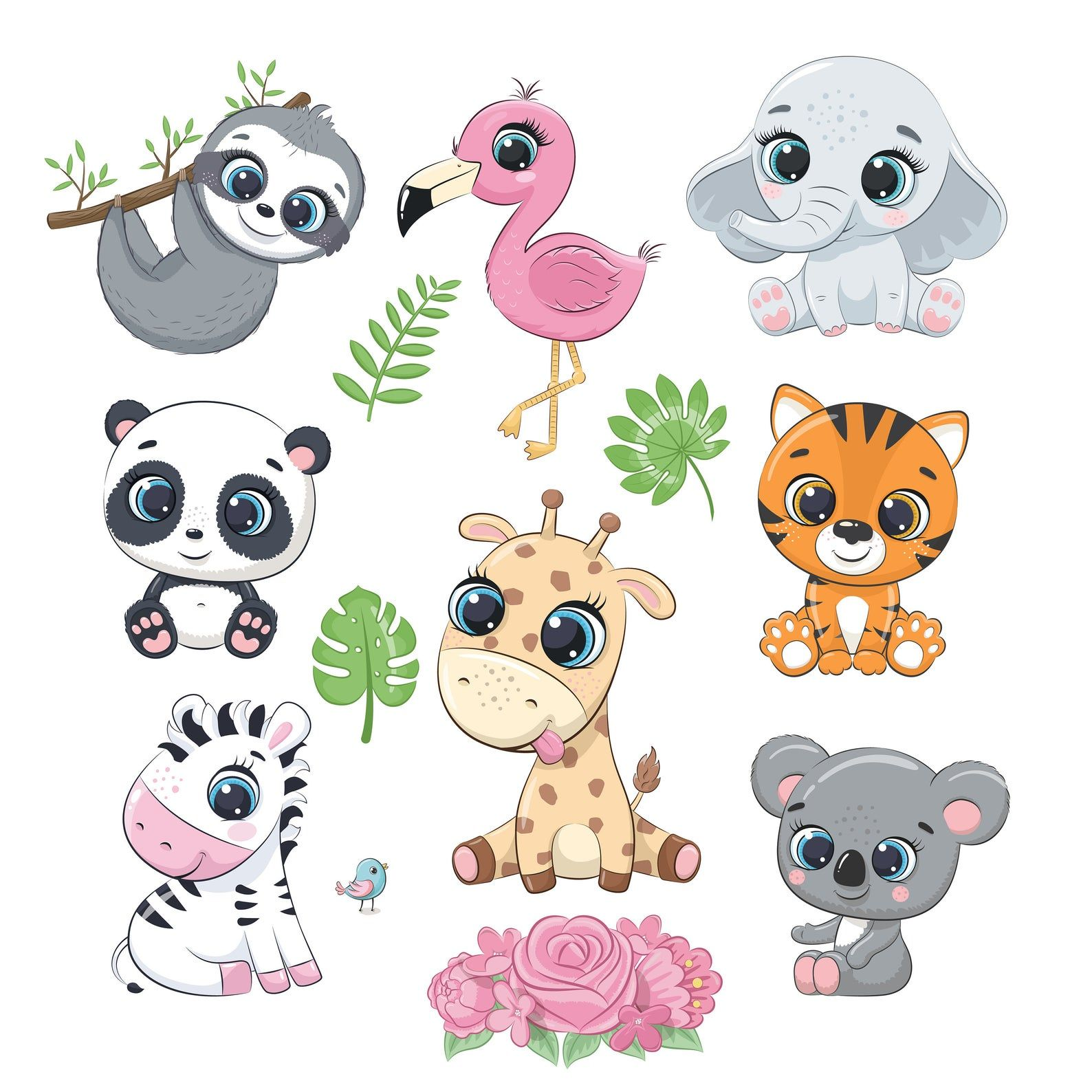 Cute Zoo Animals Clipart Png Eps Australian Animals Clipart Jungle Baby Shower Tropical Flamingo Clipart Elephant Animal Clipart Baby Animal Drawings Zoo Animals