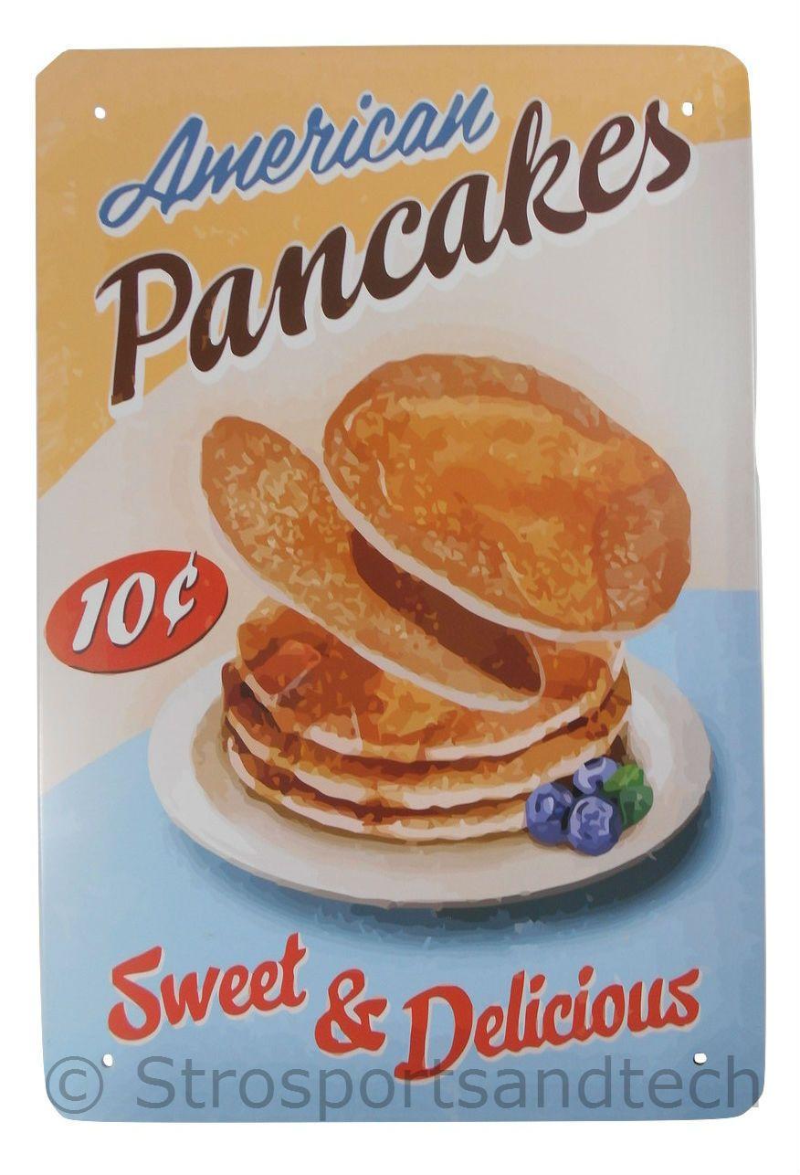 Pancakes tin sign diner cafe garage wall decor retro metal bar art