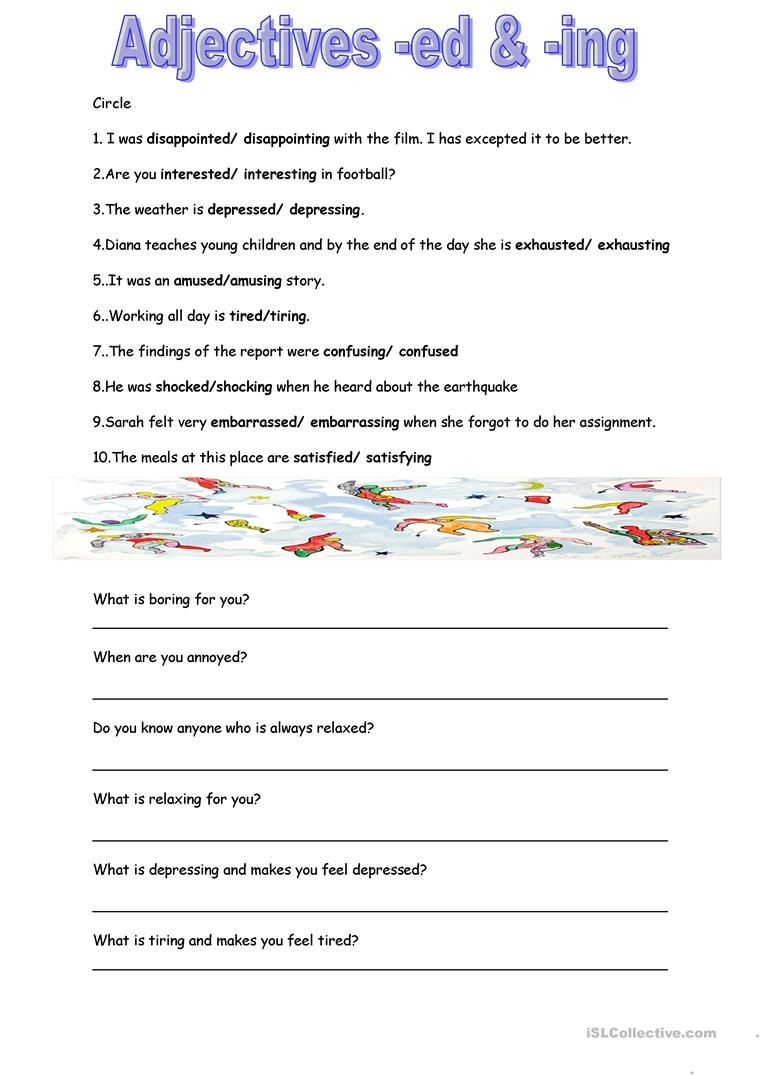 adjectives ed ing | Adjectives, Adjective words, Worksheets