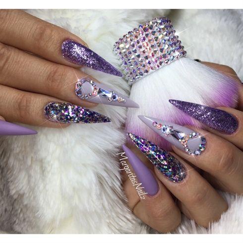Purple Bling Stiletto Nails By Margaritasnailz Swarovski Design