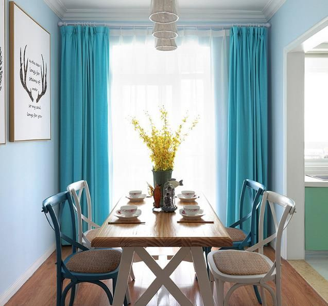Aqua Turquoise Curtains Mint Blue Polyester Solid Color Modern Drapes images