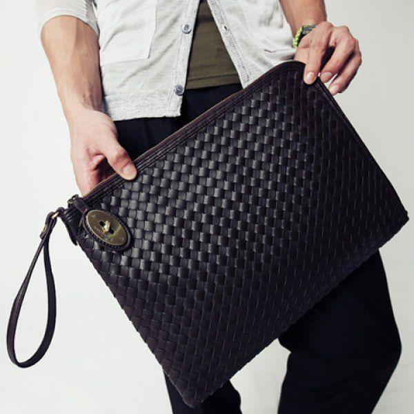 a8b21487599d Stylish Black and Weaving Design Clutch For Men on dresslily.com ...