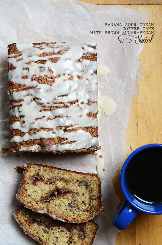 Banana Sour Cream Coffee Cake With Brown Sugar Pecan Swirl Sour Cream Coffee Cake Sugared Pecans Coffee Cake
