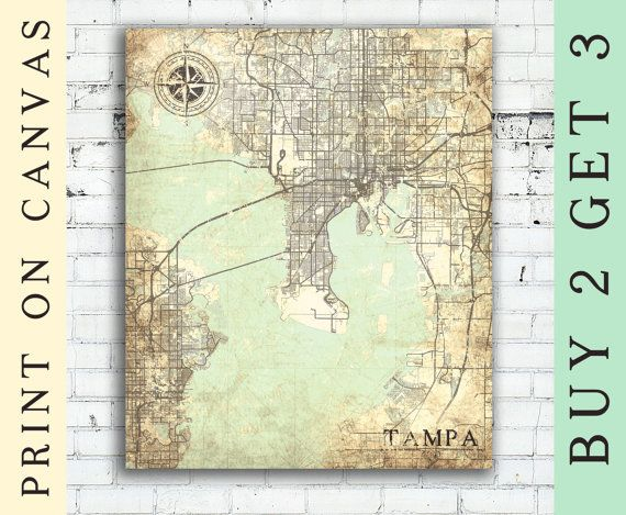 TAMPA Canvas Print Florida FL Tampa Vintage map Tampa fl City