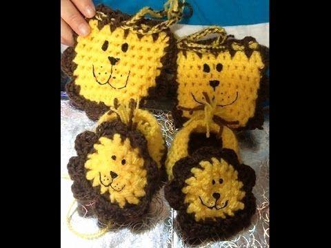 León Amigurumi Tutorial : Crochet guantes tejidos para bebé con carita de león. youtube