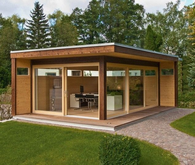 Wooden garden shed modern design compact pinterest for Outdoor office building