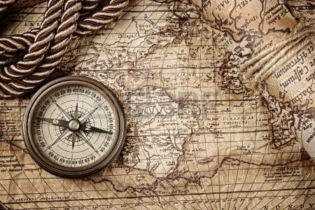 Vintage Still Life With Compass Sextant And Old Map Old Map Compass And Map Tattoo Map Art Print