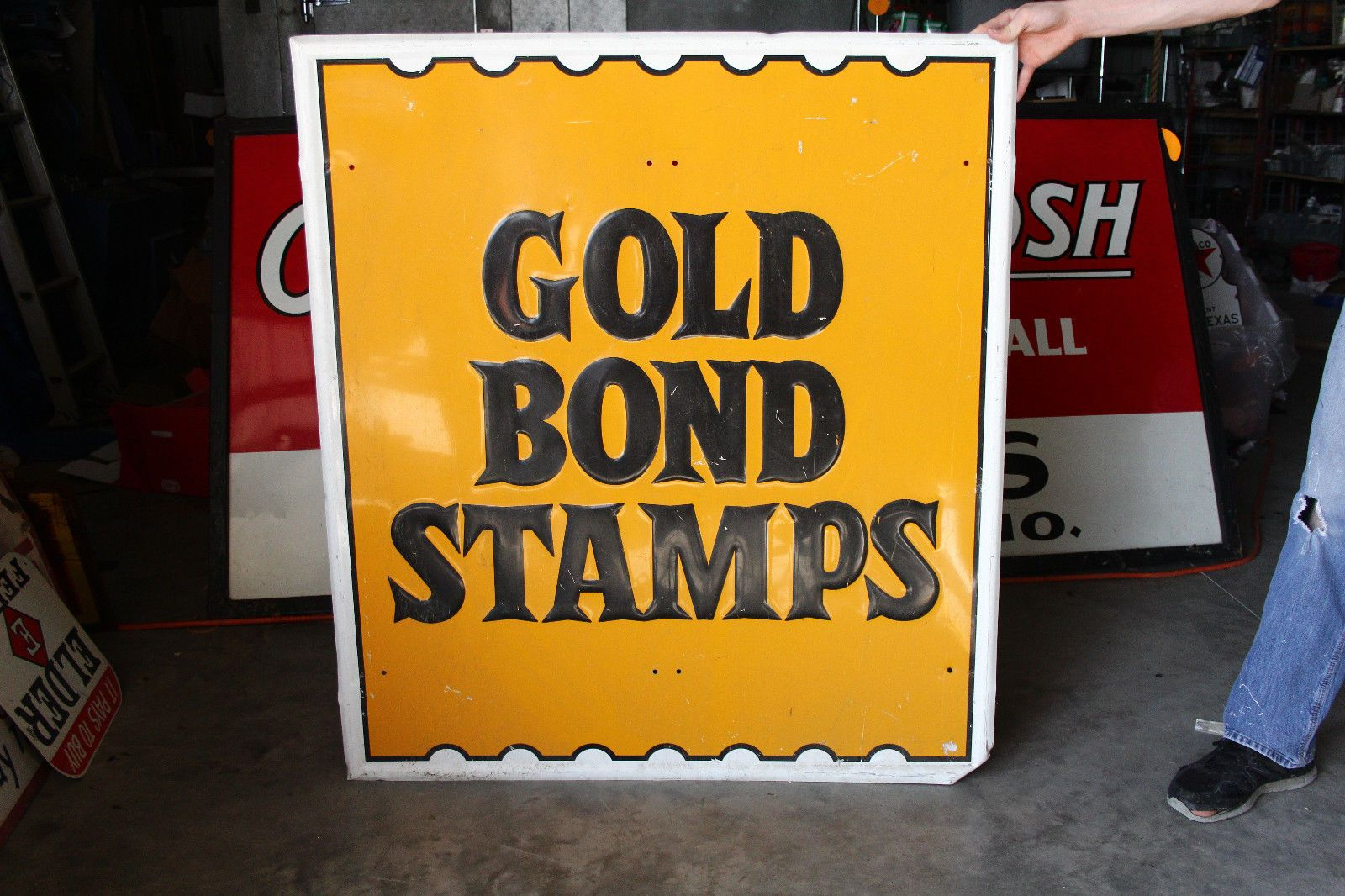 e12c6e12e12 Original Gold Bond Stamp Painted Sign. The dimensions of this item are 47  1 2 in by 42 1 2 in.Thank you for looking and contact me with questions ...