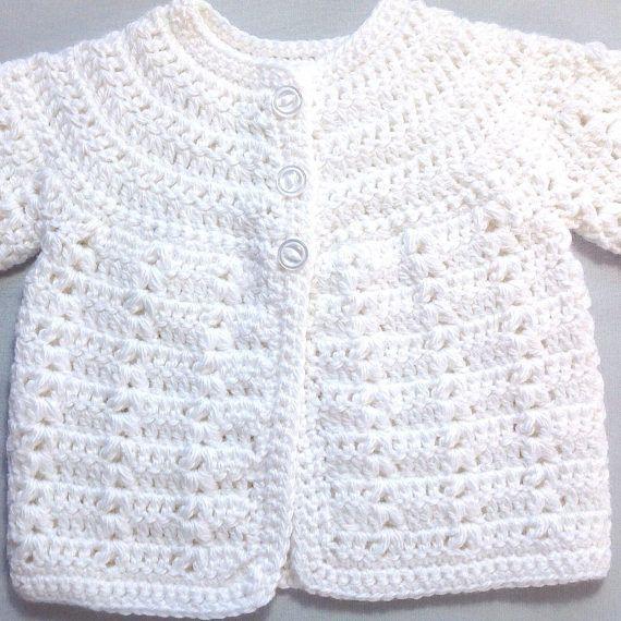 Newborn White Cardigan Infant Matinee Coat Baby Shower Gift