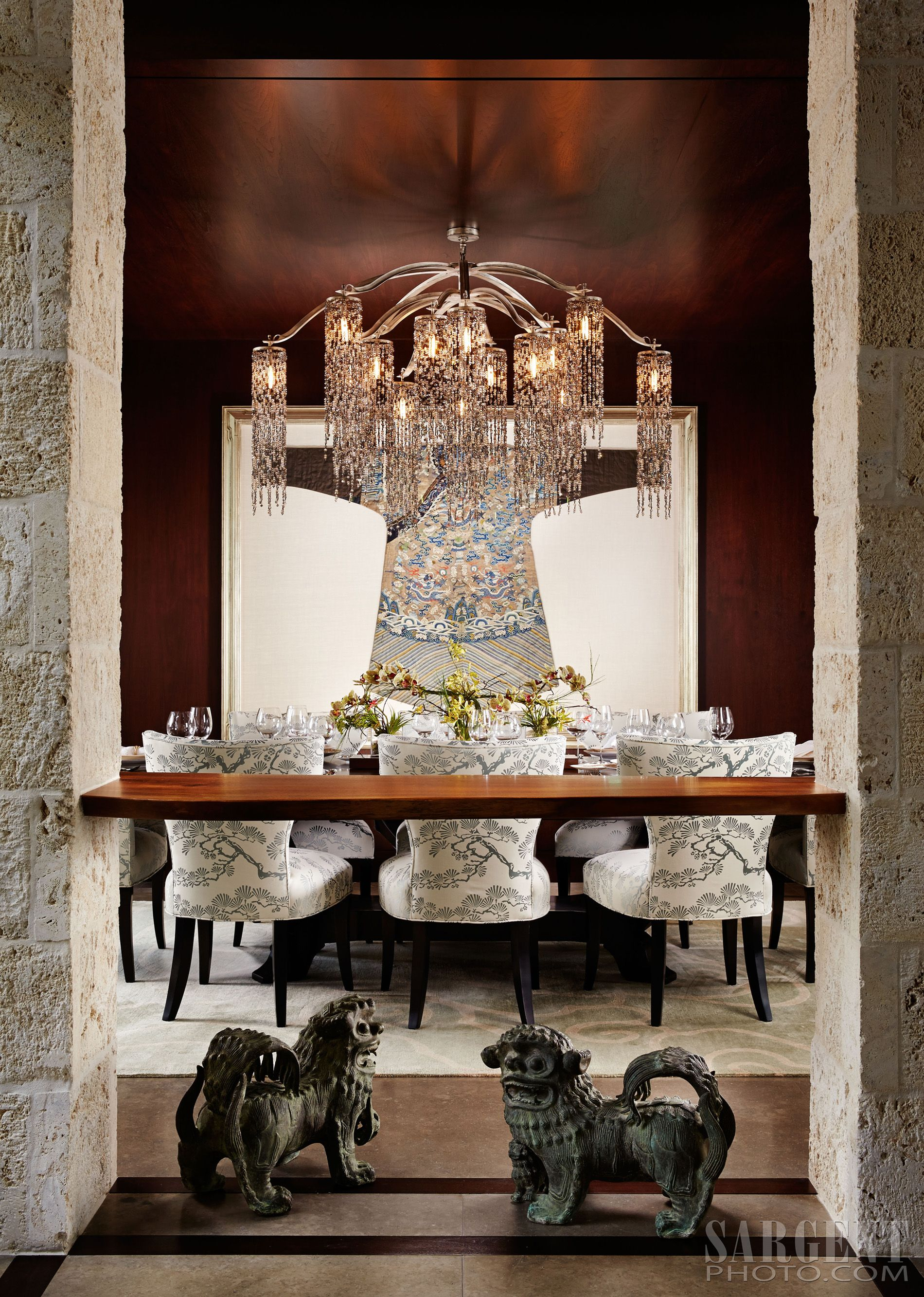 Asian Dining Room, Modern Asian Interior, Water Fall Chandelier, Asian Art,  Wood Ceiling, Dining Room