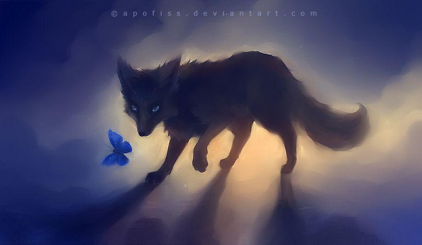Black Fox By Apofiss On Deviantart Fox Art Animated Animals Anime Wolf