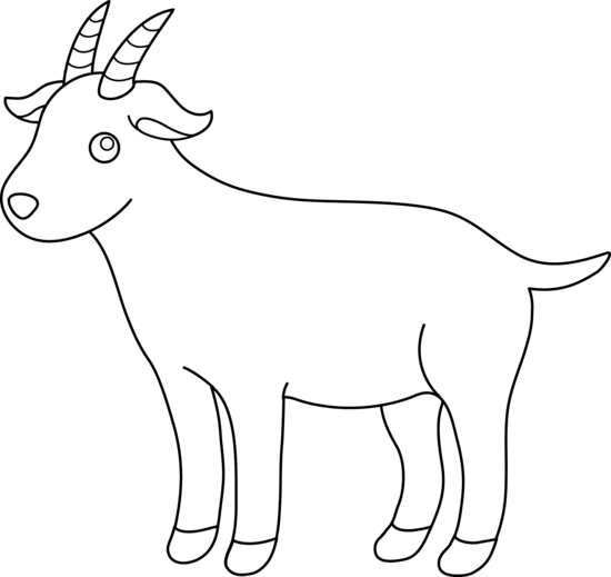 cute colorable billy goat free clip art