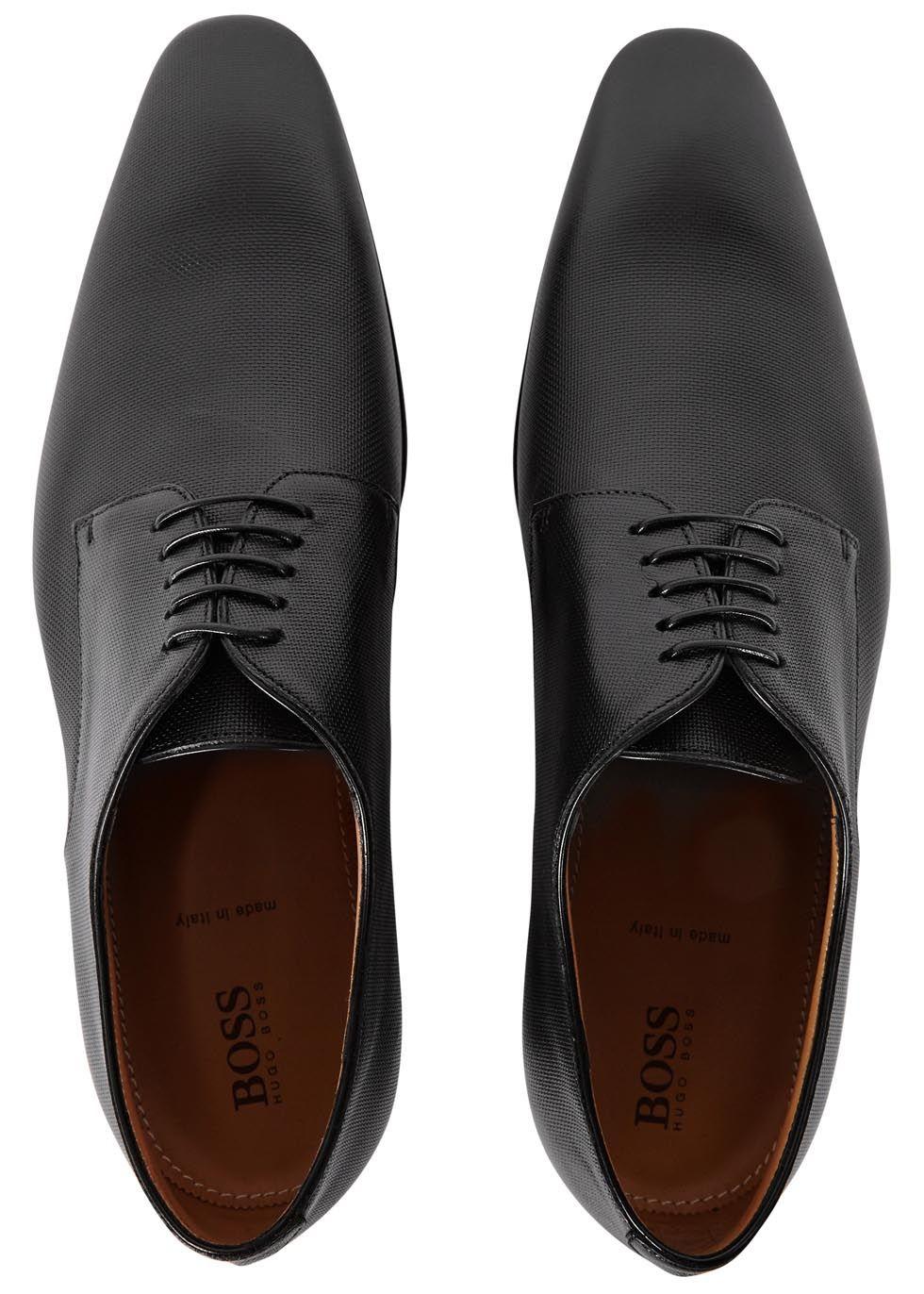 8c1706fddde HUGO BOSS Black textured leather Derby shoes