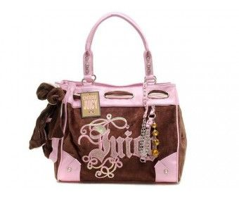 cheap - Cheap Juicy Couture Brown Velour Daydreamer Bags - Pink/Brown - Wholesale Discount Price