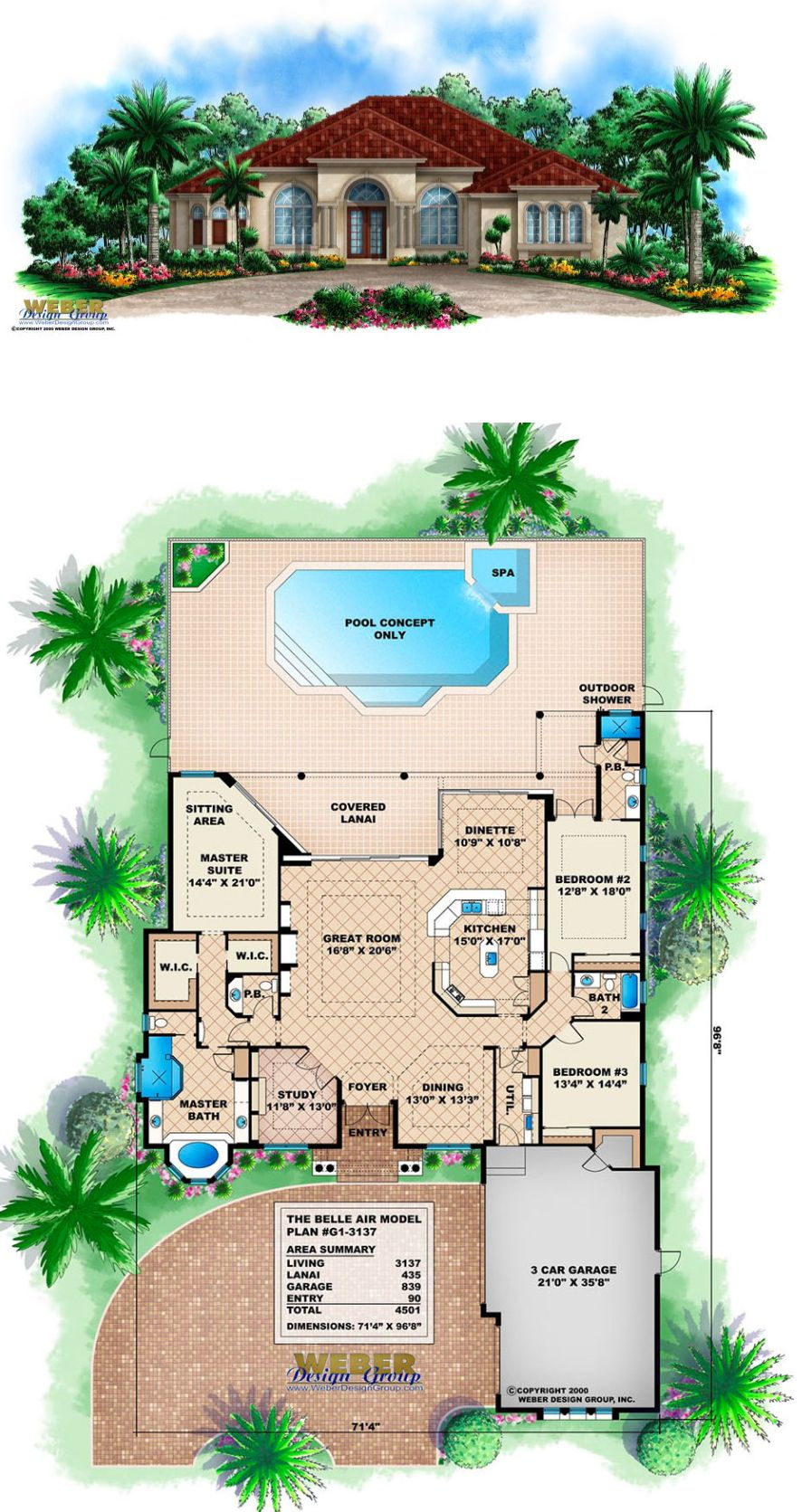 Mediterranean House Plan 1 Story Tuscan Style Waterfront Floor Plan Mediterranean House Plans Beach House Plans Mediterranean House Plan