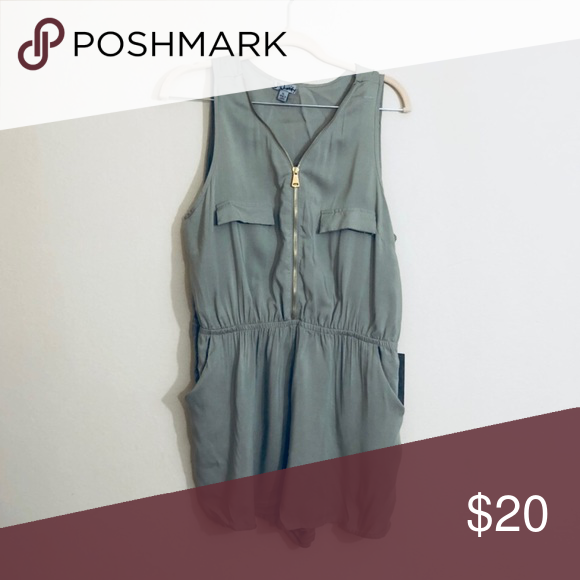 70d88b696a1 J for Justify Olive Gold Zip Romper Large Size Large. New with tags. Gold  zipper down the middle. Features pockets. Olive color j for justify Pants
