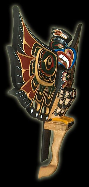 Totem Pole Plaque - Kolus - side view.  Artist: Troy Roberts ~ Tribal affiliation: Kwakiutl