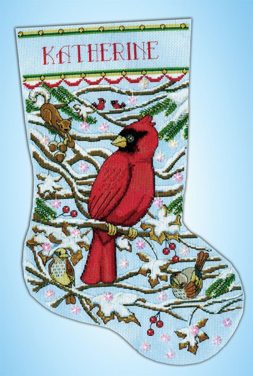 Design works cardinal christmas stocking cross stitch