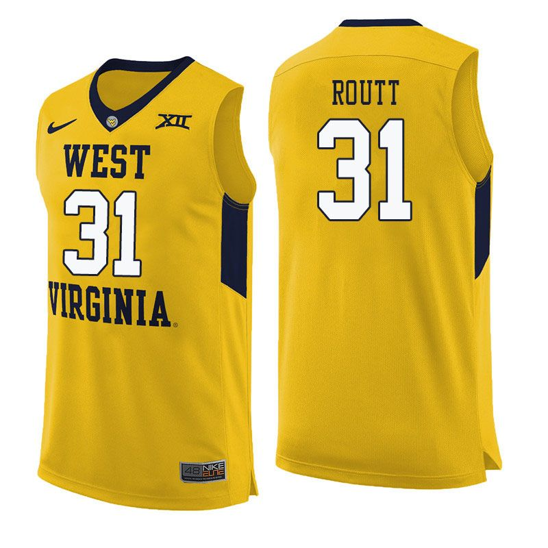 624901aec Men  31 Logan Routt West Virginia Mountaineers College Basketball Jerseys  Sale-Yellow