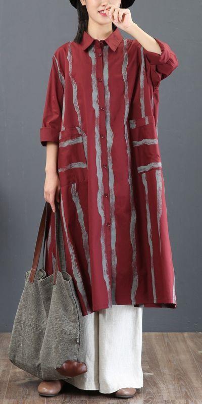 Fashion Vintage Striped Loose Cotton Shirt Women Casual Blouse 5777