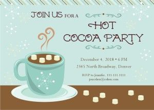 Customize Cocoa Party Invitation Hot Chocolate Social Pinterest