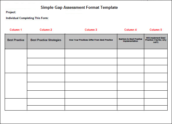 Simple Gap Assessment Format Template | Projectemplates | Excel ...