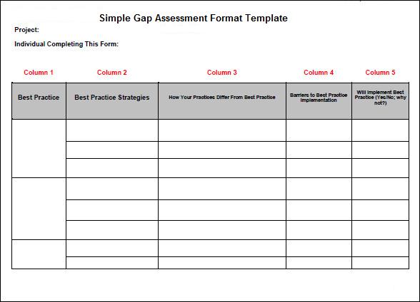 Simple Gap Assessment Format Template Projectemplates Excel Project Management Templates For