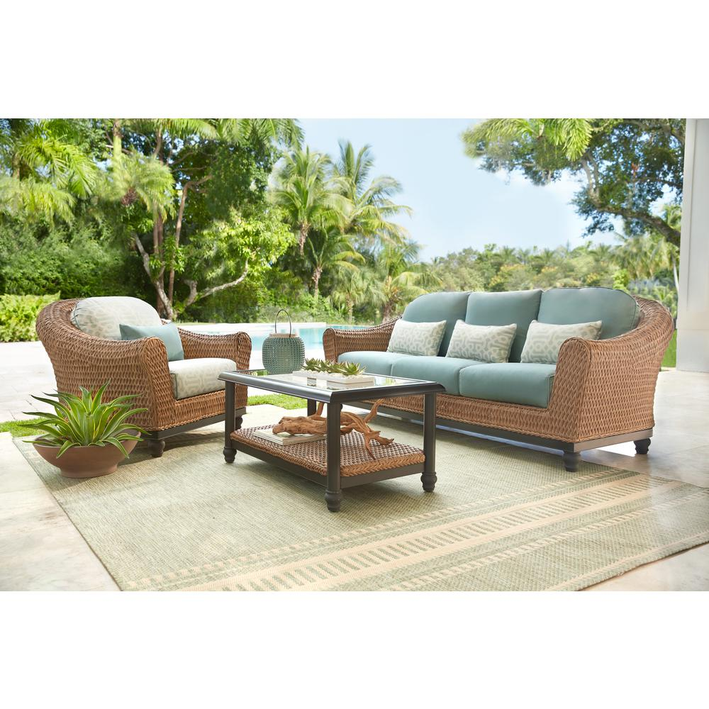 Home Decorators Collection Camden Light Brown Seagrass Wicker Outdoor Patio Sofa With Sunbrella Cast Spa Fretwork Mist Cushions Fra60624atsw The Home Depot Outdoor Furniture Sets Outdoor Wicker Furniture Outdoor Furniture
