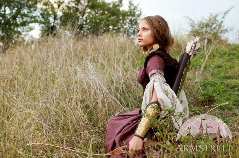 "Flax linen dress, corset and chemise set ""Archeress"""