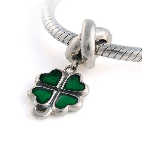 CLYB083A 925 Sterling Silver Green Clover Dangle Pandora Charms Pandora Clover Good Luck