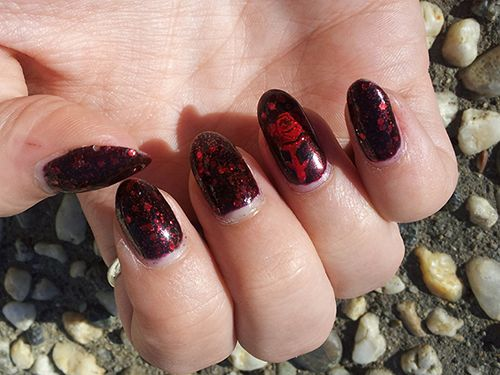 Gothic Nail Art | Deep burgubdy nail polish color on finger nails - Gothic Nail Art Deep Burgubdy Nail Polish Color On Finger Nails