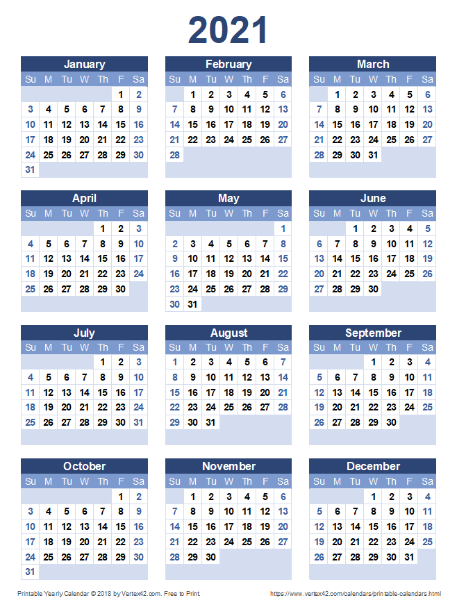 Download a free Printable 2021 Yearly Calendar from Vertex42.