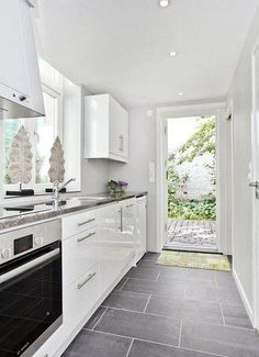 This Gives A Good Idea Of What The Color Of The Floor Will Be And How It Will Look With White Cabinets Home Kitchens Kitchen Flooring Grey Kitchen Tiles
