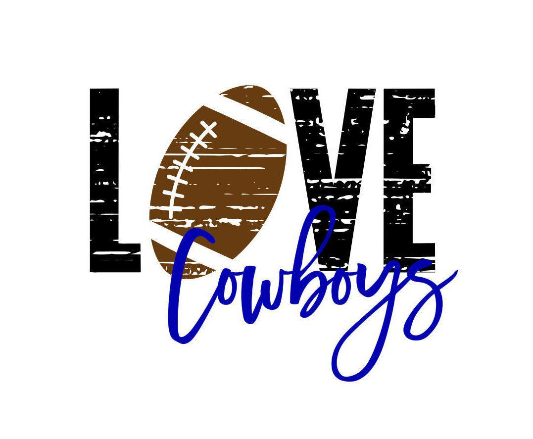 Download Love Cowboys Distressed Football SVG | Football, Cowboys ...