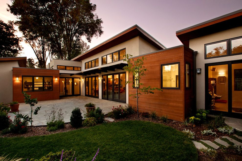 Modern Home Exterior Siding modern-wood-siding-exterior-midcentury-with-birch-blind-door-brick