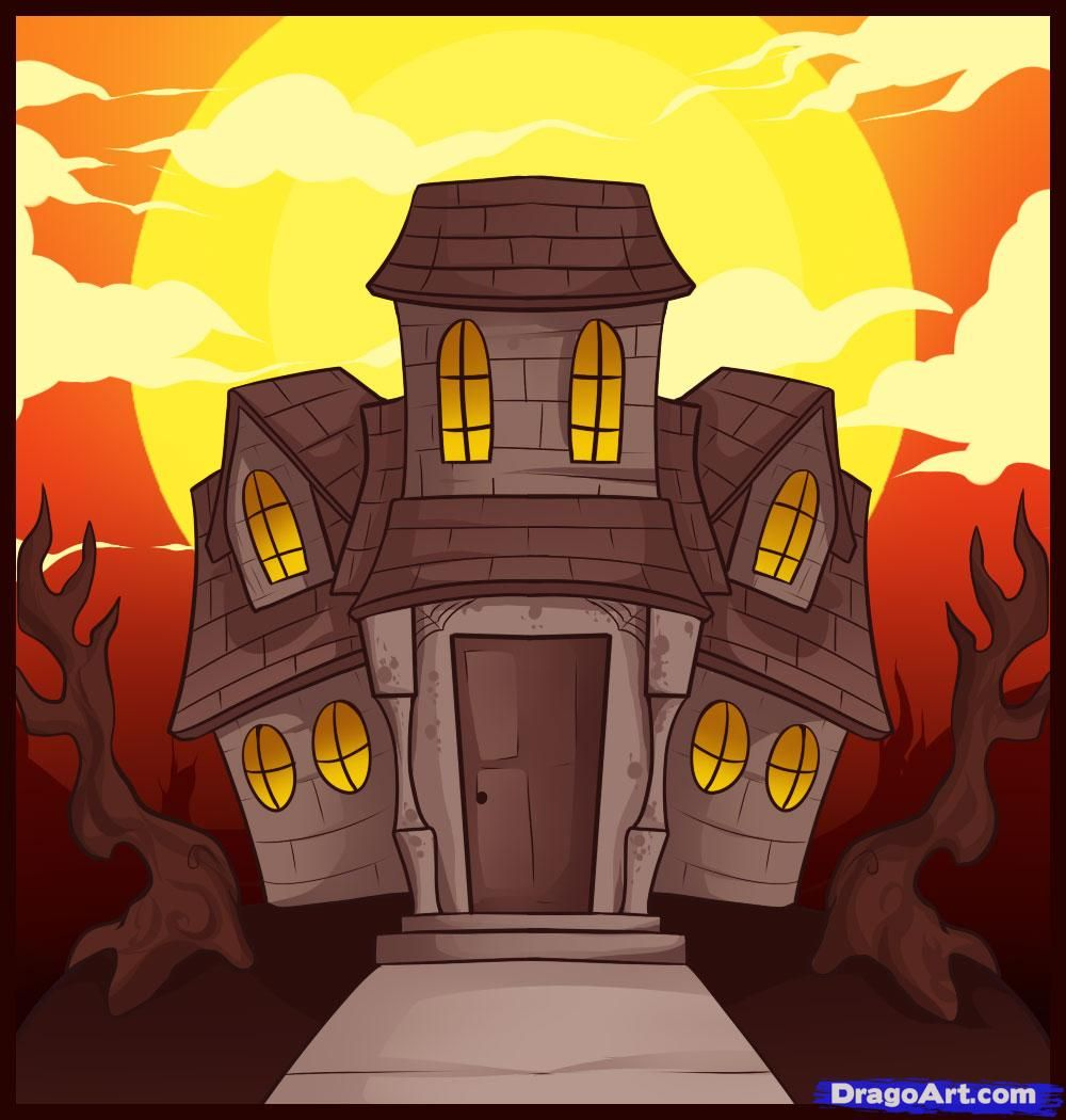 How To Draw A Haunted House Guided Drawing Spooky House Haunted House