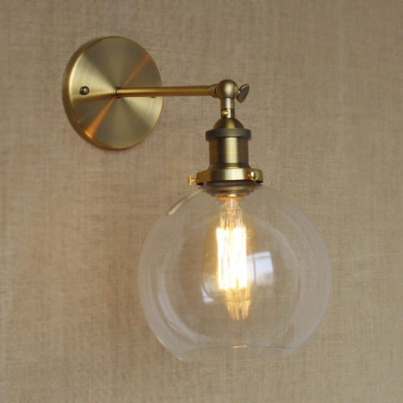 Modern Glass Globe Wall Sconce Antique Brass