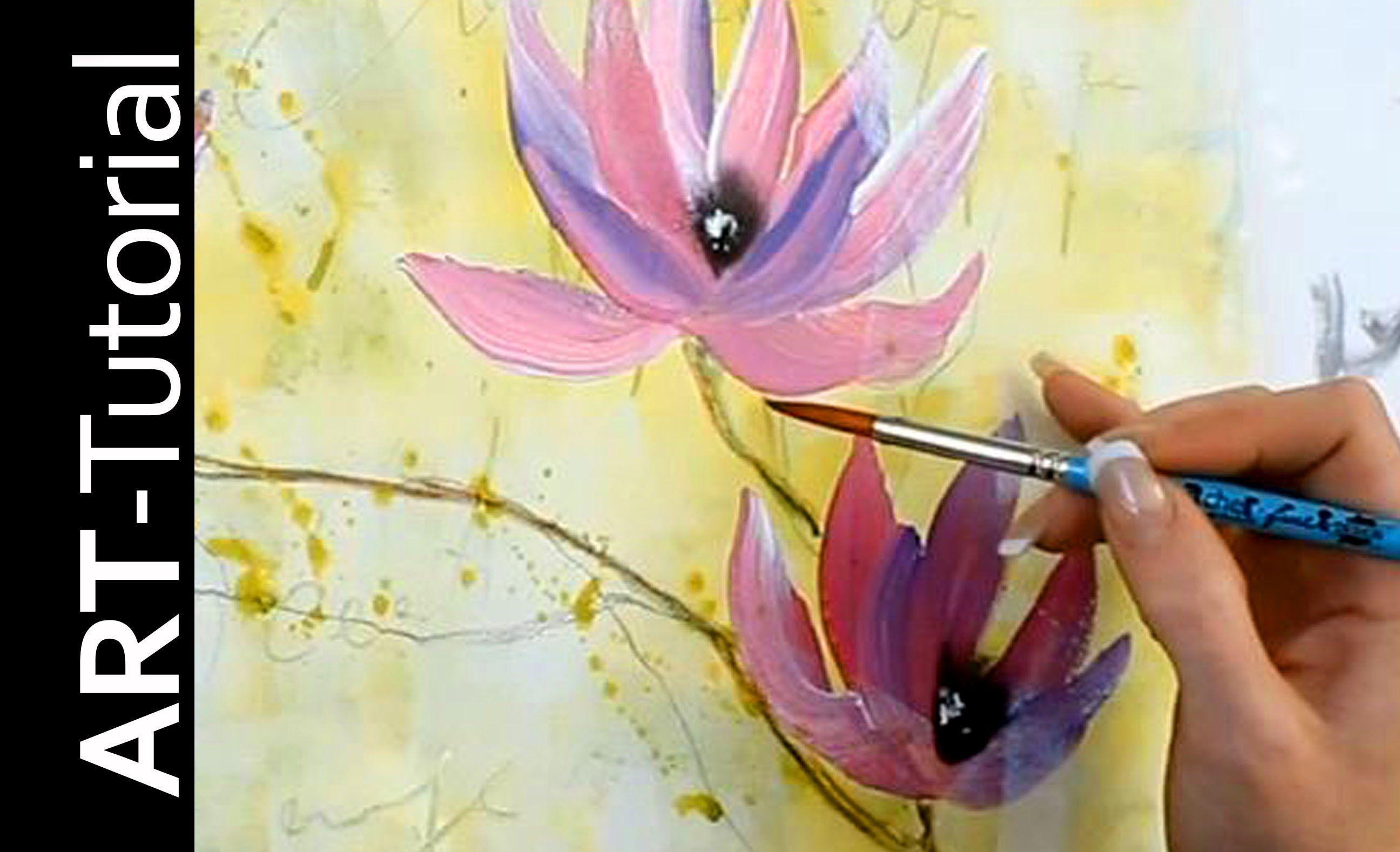3 Abstrakte Magnolie Mit Einfachen Pinselstrichen Einfach Malen